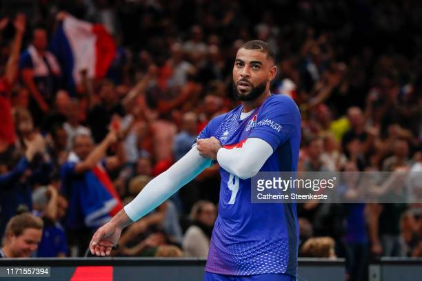 Earvin Ngapeth of France looks on during the EuroVolley 2019 SemiFinal match between Serbia and France at AccorHotels Arena on September 27 2019 in...