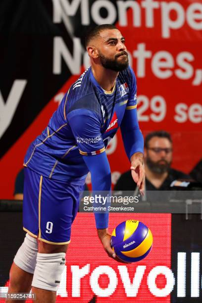 Earvin Ngapeth of France prepares to serve the ball during the friendly game between France and USA at Palais des Sports on August 2 2019 in Tours...