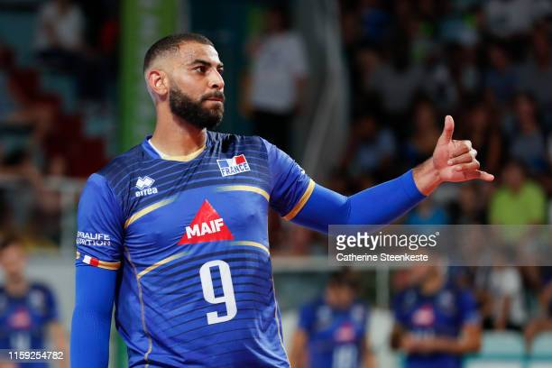 Earvin Ngapeth of France reacts after a play during the friendly game between France and USA at Palais des Sports on August 2 2019 in Tours France