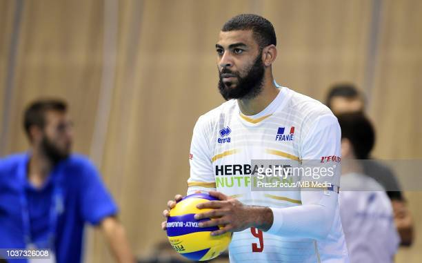 Earvin Ngapeth of France reacts during FIVB World Championships match between Serbia and France on September 21 2018 in Varna Bulgaria