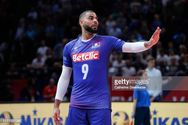 Earvin Ngapeth of France reacts to a play during the EuroVolley 2019 SemiFinal match between Serbia and France at AccorHotels Arena on September 27...
