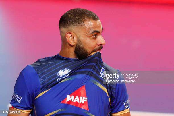 Earvin Ngapeth of France reacts to a play during the friendly game between France and USA at Palais des Sports on August 2 2019 in Tours France
