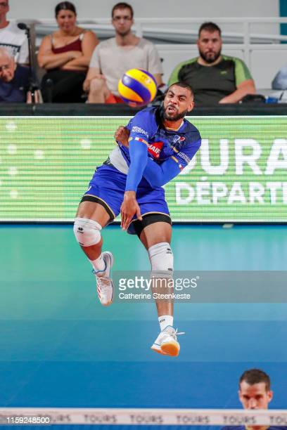 Earvin Ngapeth of France serves the ball during the friendly game between France and USA at Palais des Sports on August 2 2019 in Tours France