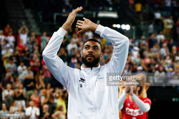 Earvin Ngapeth of France thanks the fans after the Euro Volley 2019 match between Portugal and France on September 15 2019 in Montpellier France
