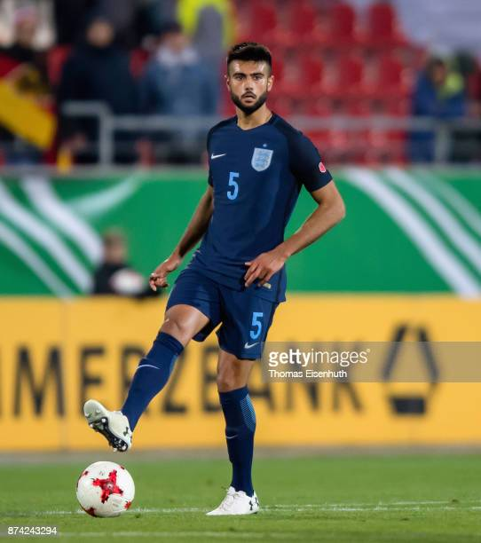 Easah Suliman of England plays the ball during the Under 20 International Friendly match between U20 of Germany and U20 of England at Stadion Zwickau...