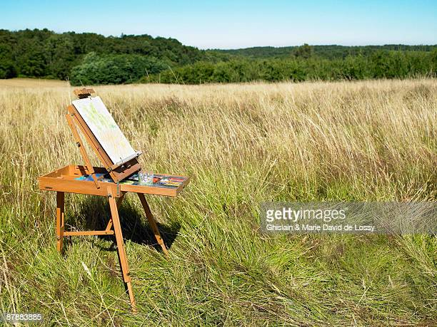 Easel in a field