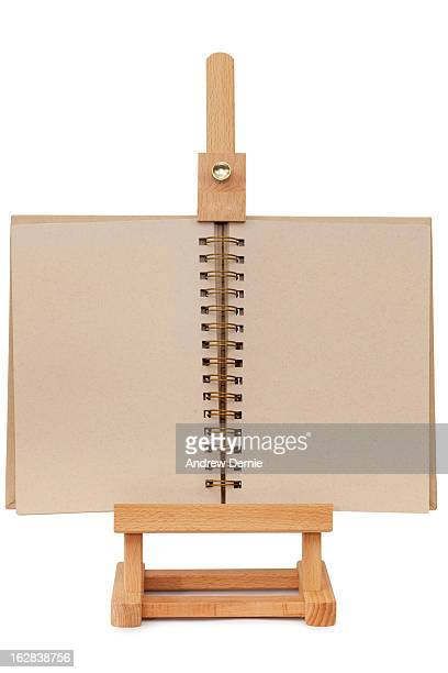 Easel with a blank notebook