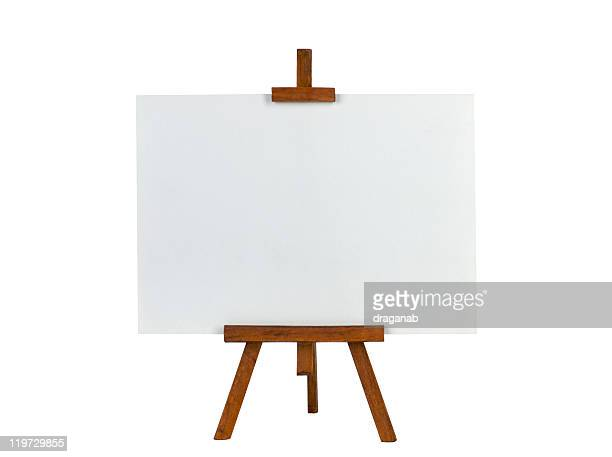 easel with blank canvas - easel stock pictures, royalty-free photos & images