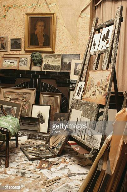 Easels and paints displayed in a reconstruction of the studio of artist LS Lowry in the City Art Gallery Manchester 1989