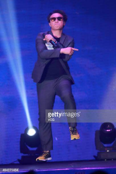 Eason Chan performs on the stage during a concert for the celebration of the 23th anniversary of Metro Broadcast Corporation Ltd on August 27 2014 in...