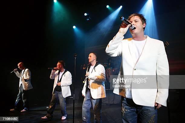 East 17 members Terry Coldwell, Brian Harvey, John Hendy and Tony Mortimer perform onstage at the Shepherds Bush Empire on May 30, 2006 in London,...