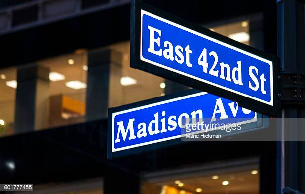 East 42nd Street and Madison Avenue Sign