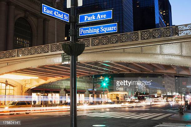 East 42nd Street and Park Avenue street sign, New York City, USA