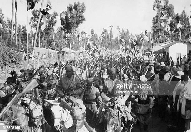 2WW East Africa Theatre of war Abyssinia Somaliland Italian colonial troops returning after the britsh defeat in Somaliland to Addis Ababa...