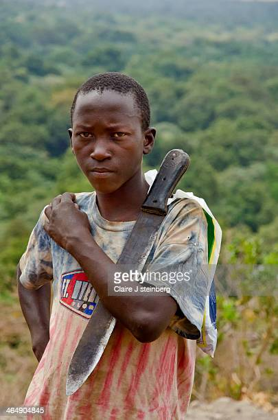 East African boy with knife searching for firewood