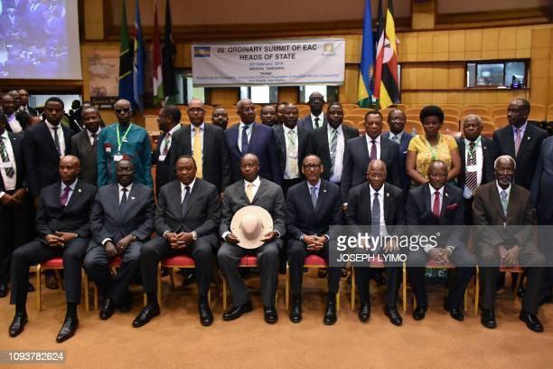 East Africa's Presidents Tanzania's John Magufuli Rwanda's Paul Kagame Uganda's Yoweri Museveni Kenya's Uhuru Kenyatta and EAC Secretary General...