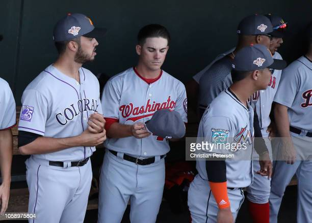 East AllStar Ben Braymer of the Washington Nationals stands in the dugout before the Arizona Fall League All Star Game at Surprise Stadium on...