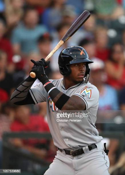 East AllStar Monte Harrison of the Miami Marlins bats during the Arizona Fall League All Star Game at Surprise Stadium on November 3 2018 in Surprise...