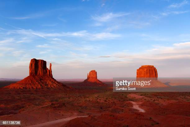 East and West Mitten Buttes, and Merrick Butte at Sunset in Monument Valley Navajo Tribal Park