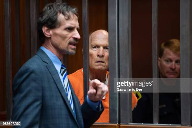 East Area Rapist suspect Joseph James DeAngelo stands with attorney Joe Cress left during his hearing on Tuesday May 29 in Sacramento Calif