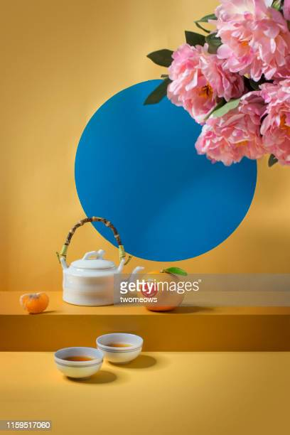 east asian food and drink still life. - still life stock pictures, royalty-free photos & images