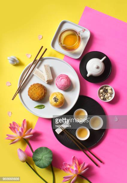 East asian style afternoon tea break objects on yellow colour background.