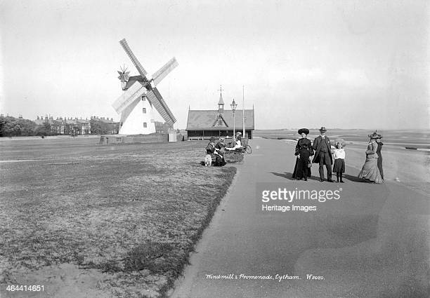 East Beach Lytham St Anne's Lancashire 18901910 The windmill lifeboat station and promenade at East Beach in Lytham A group of pedestrians pose for...