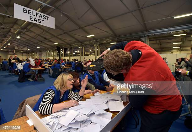 East Belfast ballot boxes arrive as the General Election count takes place at the King's Hall on May 7, 2015 in Belfast, Northern Ireland. The United...