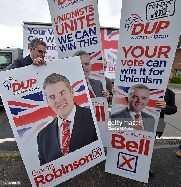 DUP east Belfast candidate Gavin Robinson out canvassing for votes on the last day of the campaign on May 6 2015 in Belfast Northern Ireland Many...