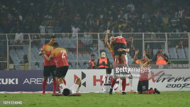 East Bengal celebrates 3-2 victory over Mohun Bagan at the I-League Match, at Salt Lake Stadium, on December 16, 2018 in Kolkata, India.