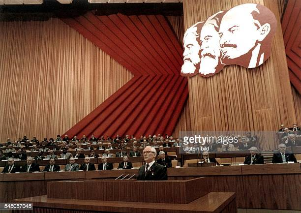 GDR East Berlin 10th party convention of the SED at the Palast der Republik SecretaryGeneral Erich Honecker during his speech