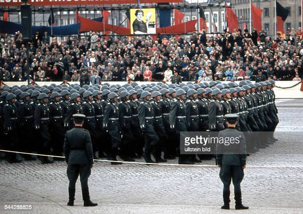 soldiers of the east german army NVA parading on May day
