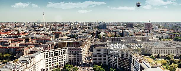 east berlin wide panorama cityscape with television tower