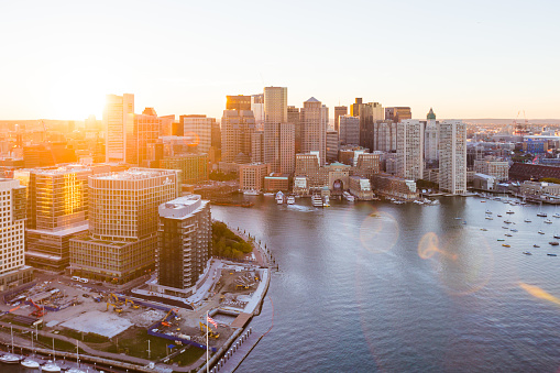 East Boston Waterfront Aerial Sunset 995696638