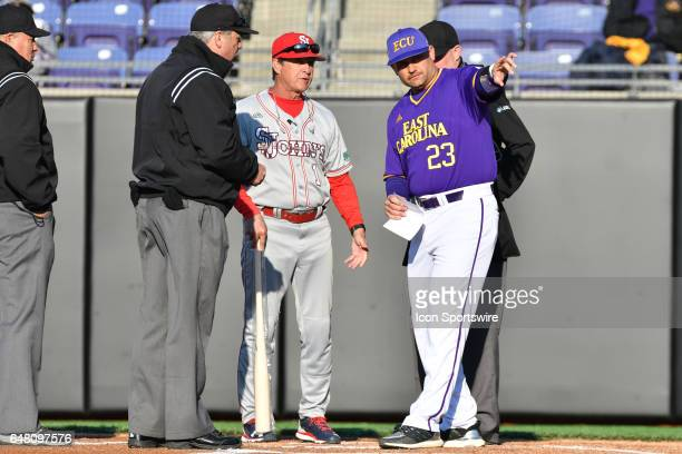 East Carolina head coach Cliff Godwin and St John's head coach Ed Blankmeyer meet before a game between the St Johns Red Storm and the East Carolina...