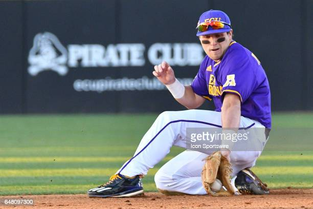 East Carolina infielder Charlie Yorgen fields a ground ball in a game between the St Johns Red Storm and the East Carolina Pirates during the Keith...