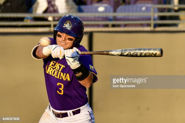 East Carolina infielder Charlie Yorgen swings at a pitch in a game between the St Johns Red Storm and the East Carolina Pirates during the Keith...