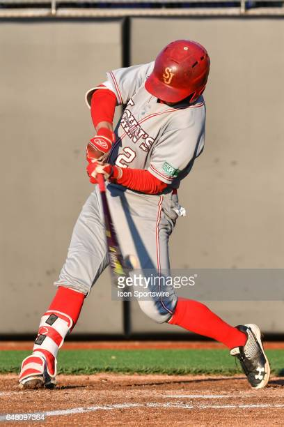 East Carolina infielder Nick Barber fouls off a pitch in a game between the St Johns Red Storm and the East Carolina Pirates during the Keith LeClair...