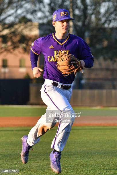 East Carolina infielder Turner Brown runs back to the dugout in a game between the St Johns Red Storm and the East Carolina Pirates during the Keith...