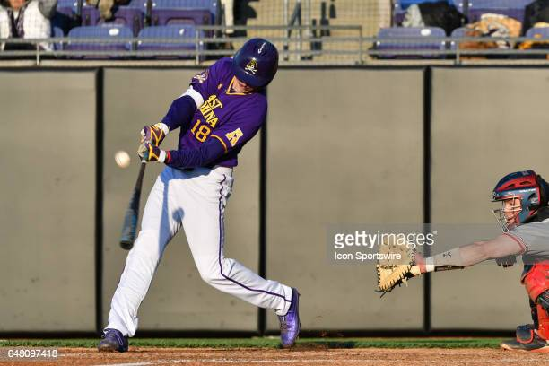 East Carolina outfielder Bryant Packard pops up in a game between the St Johns Red Storm and the East Carolina Pirates during the Keith LeClair...
