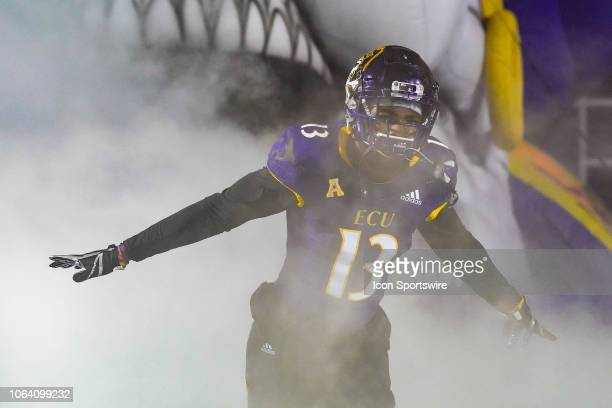 East Carolina Pirates defensive back Davondre Robinson takes the field during a game between the UConn Huskies and the East Carolina Pirates at...