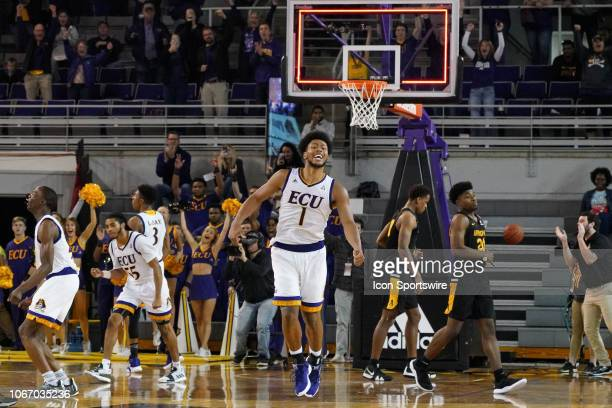 East Carolina Pirates forward Jayden Gardner celebrates a win during a game between the East Carolina Pirates and the Appalachian State Mountaineers...