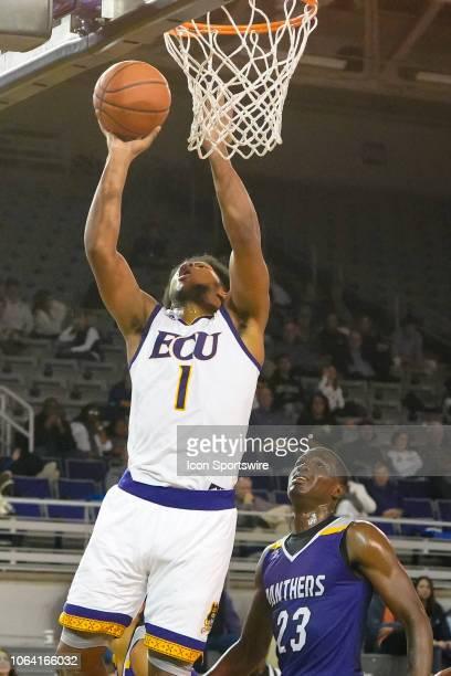 East Carolina Pirates forward Jayden Gardner drives to the basket during a game between the East Carolina Pirates and the Prairie View AM Panthers at...