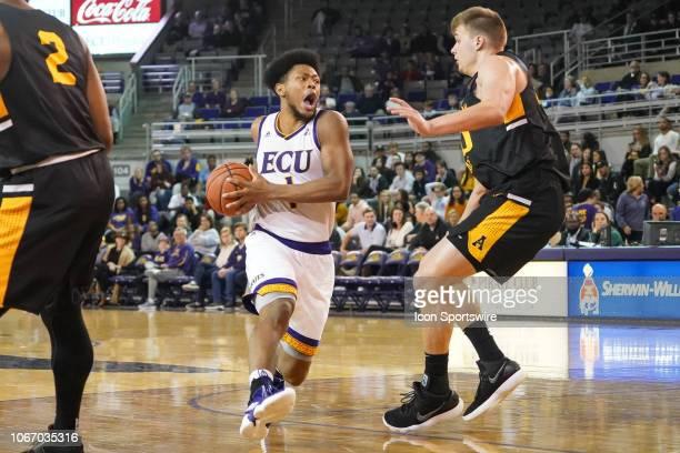 East Carolina Pirates forward Jayden Gardner drives to the basket during a game between the East Carolina Pirates and the Appalachian State...