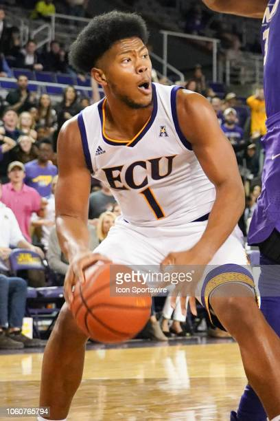 East Carolina Pirates forward Jayden Gardner gets the ball in the low post during a game between the East Carolina Pirates and the James Madison...
