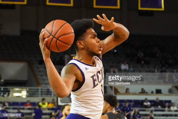 East Carolina Pirates forward Jayden Gardner looks to pass the ball during a game between the East Carolina Pirates and the Appalachian State...