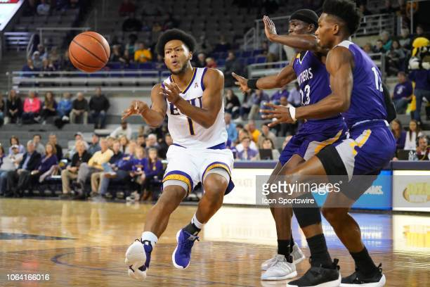 East Carolina Pirates forward Jayden Gardner passes the ball during a game between the East Carolina Pirates and the Prairie View AM Panthers at...