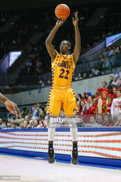 East Carolina Pirates guard Raquan Wilkins shoots a 3pointer during the basketball game between the East Carolina Pirates and SMU Mustangs on...