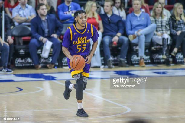 East Carolina Pirates guard Shawn Williams brings the ball up court during the game between SMU and East Carolina on January 28 2018 at Moody...