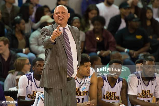 East Carolina Pirates head coach Jeff Lebo is angry during an NCAA Men's Basketball game between the East Carolina Pirates and the NC AT Aggies at...